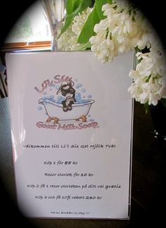 A price list in Swedish for when Li'l Sis Goat Milk Soap attends markets and craft fairs