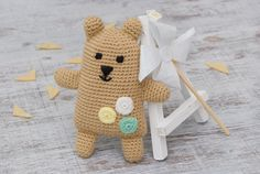 Fantasy bear Brown baby bear toy Crochet little bear Plush animal Amigurumi baby bear Stuffed toy Gift for kids Soft safe toy Kids tiny toy Handmade toy _____________________________________________ Color: beige bear with mint, white and light-yellow dots. (3.9 (10m) height). Material: 70% Cotton + 30% Acrylic Yarn Age guide: 0 + We love our fantasy little bears and think your baby will too. Hand-knitted in high quality baby yarn. Perfect for cuddles, they are waiting for someone. They…