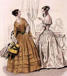 historia del traje: Capítulo 29: Indumentaria femenina 1842-1847: un estilo funcionalista