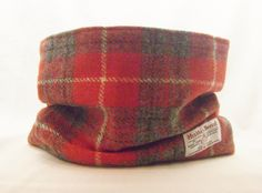 Harris Tweed cowl in red and grey plaid.  From Ebay - http://www.ebay.co.uk/itm/-/121234155453