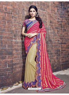 Beige Fancy Fabric Embroidered Saree