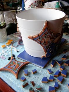 Blue mosaic pot - WIP
