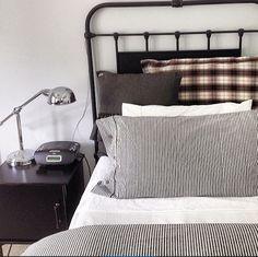 Teenage Boys Room | Industrial Bedroom | Grey Ticking | Wrought Iron Bed | Check Linen | IKEA hack