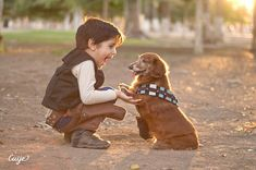 Cute Photos of Two Boys and a Dachshund Dressed as Star Wars' Han Solo, Darth Vader, and Chewbacca