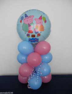 NEW PEPPA PIG BIRTHDAY BALLOON DECORATION TABLE DISPLAY Birthday Balloon Decorations, Balloon Birthday, Pig Birthday, Baby Girl Birthday, Birthday Games, 3rd Birthday Parties, Peppa Pig Balloons, Pig Ideas, Pig Party