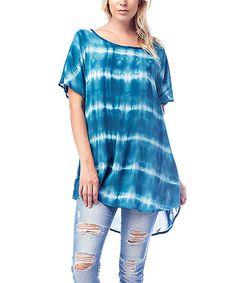 Look at this #zulilyfind! Blue Tie-Dye Hi-Low Tunic - Plus #zulilyfinds