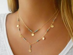 Turquoise Gold Necklace Layering Necklace 14K Gold by annikabella