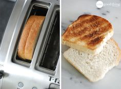 Life Hacks:two slices of bread in one toaster slot for sandwiches crispy and the outside nice and soft on inside to hold ingredients
