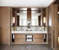 Kim Lambert Design | Custom en-suite vanity with panelled walls