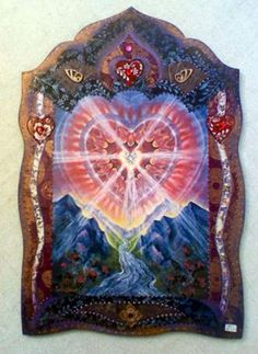 Cosmic Heart Altar, a collage by Willow Arlenea. this looks kinda magical to me. kinda cool to have on your wall. the effect is nice, the frame looks neat with the picture. Pagan, Wiccan, Divine Mother, Shape Art, Hearth And Home, Visionary Art, Sacred Heart, Religious Art, Sacred Geometry