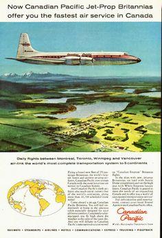 1950 Canadian Pacific Airlines, Bristol Britannia Turbo-Prop Advert