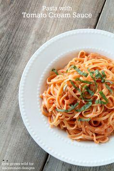 Pasta with tomato cream sauce...A splash of cream transforms regular tomato sauce into something spectacular!