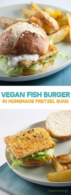 Recipe for a vegan Fish Burger (made with a tofu filet) in homemade Pretzel Rolls. It& so yummy! Delicious Vegan Recipes, Raw Food Recipes, Fish Recipes, Seafood Recipes, Vegetarian Recipes, Cooking Recipes, Salmon Recipes, Lunch Recipes, Healthy Recipes