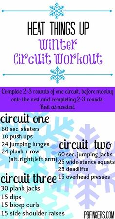 Winter Circuit Workout I'd say repeat each two or three times through to get thorough.