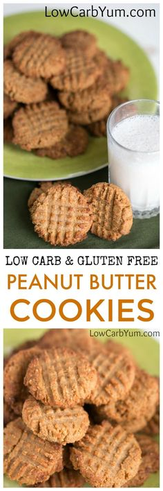 Fantastic low carb peanut butter cookies made with gluten free coconut flour. Enjoy them as a treat with a cup of almond or coconut milk. | LowCarbYum.com