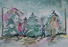 Picking the perfect Christmas tree, watercolor, private collection.