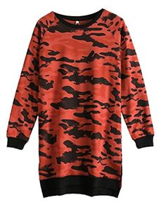 Godeyes Womens Camouflage Mid-Long Long Sleeve Crew-Neck Baggy Pullover Sweatshirt