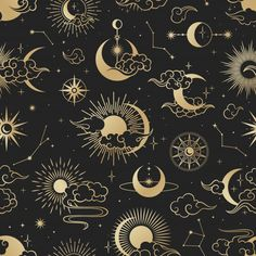 Asian seamless pattern with clouds, moon. Planner Bullet Journal, Style Oriental, Asian Tattoos, Sun And Stars, Moon Art, Cute Wallpapers, Aesthetic Wallpapers, Art Inspo, Line Art