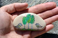 Hand painted stone. Home decor. Painted rock art. by SiiiECO