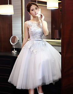 59f58cf0bb67af5 [$79.99] A-Line Jewel Neck Tea Length Tulle Beautiful Back Cocktail Party  Dress with Beading / Pearls by LAN TING Express