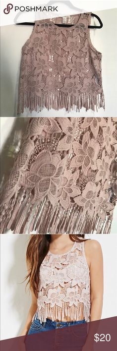 Forever21 Fringed Crochet Lace Top. Forever21 Dusty Pink Fringed Crochet Lace Top. Never been worn brand new. The color is exactly how it is in my pictures. Forever 21 Tops Crop Tops