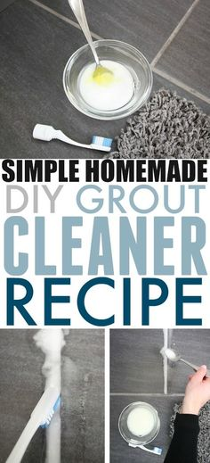 This is the best homemade grout cleaner recipe I've tried. It's great for just freshening up grout in a bathroom or on a backsplash, but it also works really well for deep cleaning dirty mudroom floor grout as well! Floor Grout Cleaner, Best Grout Cleaner, Homemade Grout Cleaner, Cleaners Homemade, Diy Cleaners, Homemade Cleaner Recipes, Floor Cleaner Recipes, Washer Cleaner, Homemade Recipe