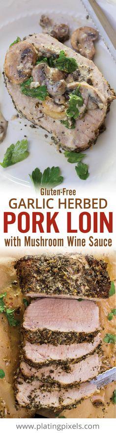 Pork Loin with Mushroom Wine Sauce by Plating Pixels. Tender, moist roasted garlic herbed pork loin. Smothered in rich mushroom wine sauce gravy. Easy roasted pork tenderloin with gluten free option. #Porksgiving [ad] @PorkBeInspired - www.platingpixels.com