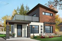 Color version 3 - Front 2 bedroom small and tiny Modern house with deck on floor, affordable building costs - Joshua Tiny House 2 Bedroom, Bedroom House Plans, Bedroom Small, Small Modern House Plans, Modern House Design, Basement House Plans, Tiny House Plans, Style At Home, Building A Shed