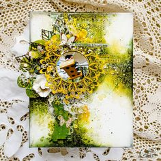 Canvas by Anastasi Kuznetsova Altered Canvas, Altered Art, Mixed Media Canvas, Mixed Media Collage, Scrapbook Canvas, Collage Background, Arts And Crafts, Paper Crafts, Vintage Cards