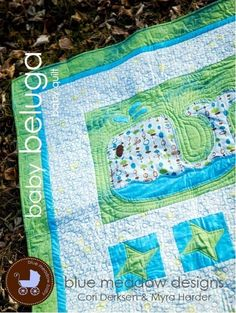 Baby Quilt Pattern  Baby Beluga  printed copy by bluemeadowdesigns, $7.99