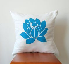 Blue Lotus Pillow Cover Hand Printed Decorative by AnyarwotDesigns, $19.99