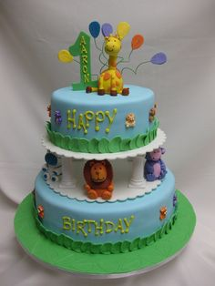 Baby Diaper Cake Zoo Animals Tiger Lion Theme Jungle Shower Gift Or