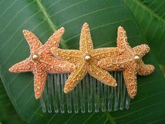 Starfish Hair Comb Triple Sugar Starfish-Beach Wedding Hair Clip, Mermaid Halloween Costume  (love the little pearl in the center-L)