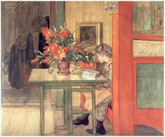 Lisbeth reading (1904). Carl Larsson (Swedish, 1853-1919). Watercolor, charcoal and tempera on paper on cardboard mounted on canvas. Nationalmuseum, Sweden. Carl and Karin Larsson had eight children...