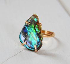 Coastal Sunset Ring- Abalone Shell Ring, Prong Set Gemstone Ring, One of a Kind Stone Ring, Boho Gold Ring on Etsy, $50.00