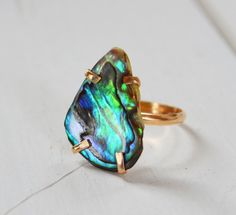 Coastal Sunset Ring- Abalone Shell Ring, Prong Set Gemstone Ring, One of a Kind Stone Ring, Boho Gold Ring on Etsy, $50.00