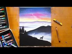 Speed drawing - Misty mountains with soft pastels | Leontine van vliet - YouTube