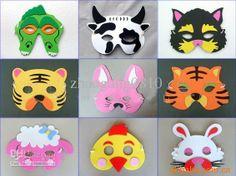 Novedad Cartoon EVA Foam Animal Face Mask Masquerade Mask, Máscaras para niños, Tigre