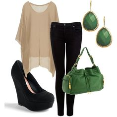 I love this simple chic sexy outfit with the pop of green!