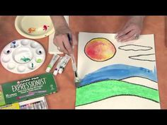 ▶ Hands on Crafts for Kids: Cray-Pas Oil Pastel Resist Technique - YouTube.  Create texture in your watercolors using common household items.