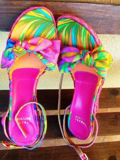ON SALE!!! - Vintage Stuart Weitzman Tropical Wedge Sandals in Bright Colors - Size 8.5M - Brand New Condition - Were 65.00 - NOW 40.00