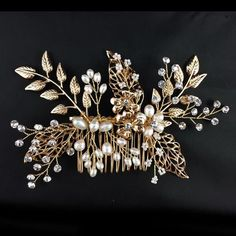 Elegant crystal pearl with gold leaf hair jewelry bridal hair combs tiara wedding hair accessories women party hair decorations