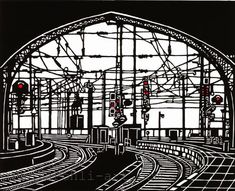 Image result for linocut train railway