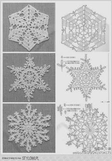 Crochet snowflakes with charts: Crochet Angels, Crochet Stars, Thread Crochet, Crochet Flowers, Crochet Diagram, Filet Crochet, Crochet Motif, Crochet Doilies, Crochet Designs
