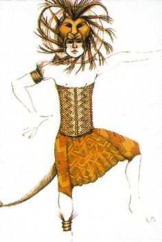 Julie Taymor's sketch of Simba's adult form costume. #theatre