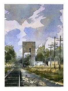 "Tracks No. 1 by Iain Stewart Watercolor ~ 13"" x 9"""