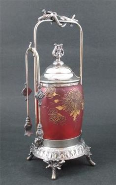 Victorian Pickle Castor Gold Spider Mums on Cranberry Satin Glass Middletown…