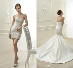 Wholesale Sweetheart Simple Sheath Wedding Dresses Detachable 2 in 1 Bridal Beach Gowns Shiny Beaded Sequins Appliques Cheap Gorgeous Fashioin 2014, Free shipping, $117.48/Piece   DHgate Mobile