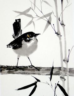 Winter wren – by Kalpa Machlachlan, Netherlands - Ink Painting Japanese Ink Painting, Sumi E Painting, Japanese Watercolor, Japan Painting, Watercolor Bird, Japanese Art, Watercolor Paintings, Ink Paintings, Chinese Painting Flowers
