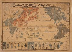 """""""Japanese Map of The World; People of Many Nations"""" Print (Unstretched Canvas Giclee Old World Maps, Old Maps, Antique Maps, Vintage Maps, Photo Print, World Map Poster, Map Globe, Fantasy Map, Historical Maps"""